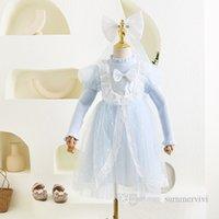 Chicas Punto Suéter Detalle Tulle Tulle Dress Kids Ruffle Cuello Falbala Sleeve Princess Vestidos + Bows Gauze Shawal Velo 2pcs Establece ropa de fiesta de bodas Q1093