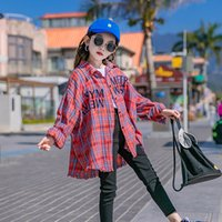 Ins Fashions Büyük Kızlar T-Shirt Ekose Çocuk Turn-down Yaka Sokak Bahar Çocuk Giyer 1071 V2