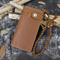 Moda Carteira longa de couro bifold com cinta de pulso trançada carteiras genuínas bolsa mulheres cartão cartão