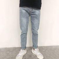 Desgaste masculino primavera e outono versátil casual lavado jeans de meia idade tubo reto solto longa calças moda
