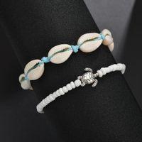 Vintage Turtle Shell Ankle Bracelets on Leg For Women Tortoise Seashell charm beads Blue String chains Anklet Bohemian Beach Jewelry wjl2318