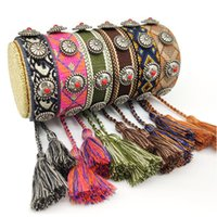 1pc 22 Colors Handmade Tassel String Bracelet Vintage Friendship Wristband Adjustable Embroidery Braided Rivet Rope Bangle