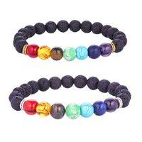 Beaded, Strands Natural Stone Bracelet For Men 7 Chakra Black Lava Healing Balance Beads Reiki Buddha Prayer