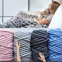 1000G толстая громоздкая коренастая пряжа для ручного вязания вязания крючком мягкой большой хлопчатобумажной DIY, рычага ровинга прядильный одеяло Weaven Оделочные одеяла Swaddling 1032 v2