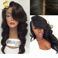 100% Perulu İpek Baz 4 * 4 İnsan Saç Tam Dantel Peruk Dantel Ön Peruk Siyah Kadınlar Için Tam Dantel İnsan Saç Peruk Dalgalı Saç