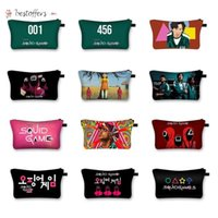 Korea Squid Game Print Cosmetic Bags Make Up Storage Organizer Travel Pouch Makeup Bag Purses tToiletry Bag Women Handbag BO21