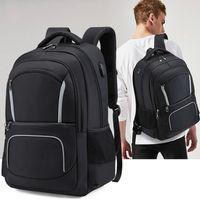 Backpack Men 17Inch Laptop USB Charging School Notebook Bag Oxford Women Waterproof Travel Reflective Stripe