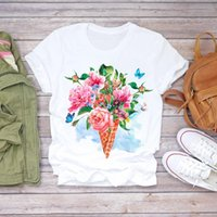 Women's T-Shirt Women Summer Butterfly Elegance Ice Womens Graphic Female Tee Floral Flower Lady T-shirts Top T Shirt
