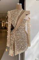 Champagne Evening Dresses Luxury Sequins Beads High Neck Long Sleeves Prom Dress Formal Party Gowns Custom Made Knee Length Robe de mariée