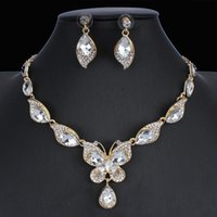 Earrings & Necklace Dubai Charm Bridal Wedding Fashion Jewelry Sets Colorful Crystal Pendant Butterfly For Women Gift