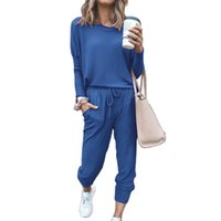 2021 new style explosion loose solid color casual fashion long-sleeved two-piece women's autumn and winter sportswear sports suit