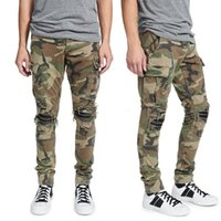 Moda Estilo Mens Jeans Camuflagem Calças Slim-Leg Calças Ajuste Motociclista Afligido Skinny Rasgado Destruído Hole Denim Lavado Hip Hop Calças Tamanho W28-W40