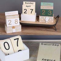 Vintage Wooden Perpetual Calendar Eternal Block Planner Pography Props Month Week Date Display Home Office Desktop Decoration Novelty Items