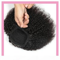 Malaisien Human Hair Kinky Curly Afro Pony-Ponçons 8-22inch Couleur naturelle en gros Afro Kinky Curly Ponails Virgin Hair Products