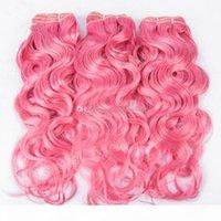 꽤 컬러 핑크 브라질 젖은 물결 모양의 인간의 머리카락 번들 3pcs 로트 물 파도 순수한 컬러 헤어 위사 확장 300g