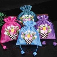 Bloem groot satijn sieraden gift handgemaakte lint borduurwerk trekkoord pouch lege sachet lavendel zakken 10pcs /