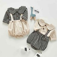 Autumn Baby Girls Clothing Sets Long Sleeve Cotton Shirt+Romper Toddler Suit Korean Style Clothes 210729
