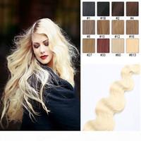 عالية الجودة شريط موجة الجسم في الشعر البشري 16-24 بوصة البرازيلي العذراء الإنسان الشعر التمديد 20 قطع بو الجلد لحمة 30-70 جرام متعدد الألوان