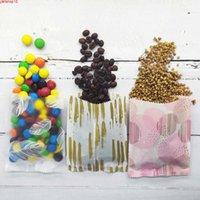 Nuovo design borse opp sacchetti di biscotto di caramelle stoccaggio aperto superiore a sega a sega a sega tacca tacchetti mylar imballaggio plastica 100pcs / packgoods