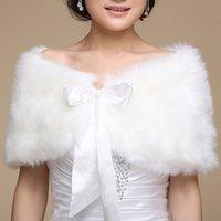 Faus Fur Bridal Wraps(L:37.4inWinter Warm Shawl Ribbon Tie Bow Wedding Formal Party Gowns