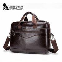 LAOSHIZI LUENUEN MENS Véritable sac en cuir Sac shifcase Messenger Sac MEN Cuir Travail Bolso Hombre 91504 R1Y4 # #