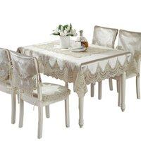 Европа стиль роскошный комфорт скатерть кружева края пылезащитные чехлы для стула крышка домашняя вечеринка ткань высокое качество 210722