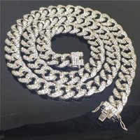 Luxury Special Offer High Quality Cuban Link Chain Fashion Brand Full Diamond 14mm Thick Two-Color Silver Hiphop Hip Hop Super Flash Necklac