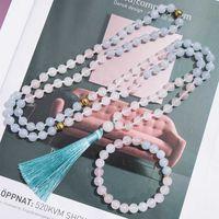 Pendant Necklaces 108Japamala Beaded Necklace 8mm Rose Quartz White Jade Aquamarine Knotted Meditation Yoga Blessing Bracelet Jewelry Rosary
