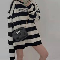 2021 Early Autumn New Mm6 Co Branded Letter Embroidery Off Shoulder Loose Stripe Lazy Sweater