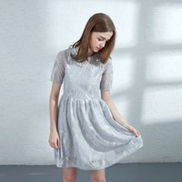 Casual Dresses lace A-line cut out flower pattern fluorescent high waist mid skirt small fragrance temperament thin dress