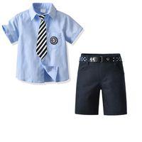 Kids Clothing Sets Boy Suit Boys Suits Children Clothes Summer Cotton Short Sleeve Necktie Shirts Shorts Pants 2Pcs B5615
