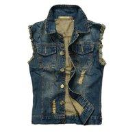 Men's Vests Nice Brand Hip Hop Sleeveless Summer Ripped Mens Denim Vest Male Tank Top Washed Jeans Waistcoat Man Cowboy Jacket 7XL
