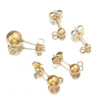 50pcs acciaio inox acciaio inox a sfera a sfera per orecchini con anello adatto fai da te gioielli per la produzione di forniture accessori ipoallergenici 5mm 6mm argento / oro