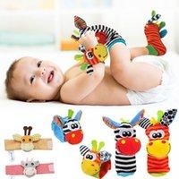 Cartoon Plush Socks Skarpetki Nadgarstek Rattles Baby Zabawki Nadgarstek Nakładki Miękki Bateria Set Dziecko Sensory Fill Finder Zabawki Prezent H