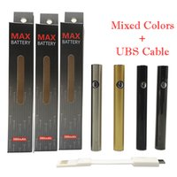 AMIGO Max Vape Batterie 380mAh Vaporisateurs 510 Bouton de la batterie de filetage Préchauffez Variable Tension Câble rechargeable Câble USB Réglable Huile épaisse Epaisse Vape Cartouches