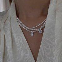 Coreano in stile zircone argento colore goccia pendente geometrico naturale perla d'acqua dolce perla clavicola collana collana donna collane 1815 Q2
