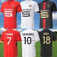 Stade Rennais Camavinga 120th Soccer Jersey Doku 2021 22 Rennes Bourigeaud Mailoots de Foot Guirassy Truffert Terrier Mauassa Nzonzi Aguerd Футбольная рубашка