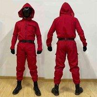 Tintenfischspiel Rot Jumpsuit Unisex Cosplay Kostüme einteiliger Bodysuit mit Kapuze Houghers TV Koreanischer Drama Periphere Kleidung Dress Up Playsuit mit Gürtel und Handschuhen G08Y25R