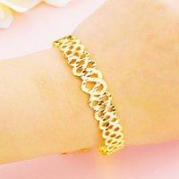 24k Gold Endlose Liebe Interwaving Infinity Kette Link Verstellbare Frauen Armband Luxus Gold Schmuck