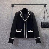 Women's Suits & Blazers Korean Autumn Womens Suit Collar Black Tweed Blazer Elegant Single-Breasted Short Long Sleeve Plus Size 4XL Woolen C