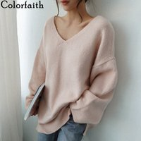 Colorfaith New 2019 осень зима женские свитера V-образным вырезом с длинным рукавом модный корейский стиль вязание вскользь розовый SW8108 A3RX #