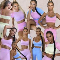 Yoga Outfit 2021 BT Color Stitching Sports Bra Short Sleeve Shorts Trousers Four-piece Suit Leguins Deportivos
