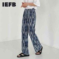 IEFB Niş Tasarım Bohemian Kravat Boya Mavi Pantolon erkek Elastik Bel Nedensel Pantolon Gevşek Geniş Bacak Düz Pantolon 9Y6952 210524