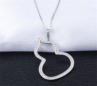 Joyería clásica 925 Sterling Silver Calabaza Collar Delicado Inserto Taladro Pave Pave White Sapphire CZ Diamond Cadena Colgante Regalo 3 J2