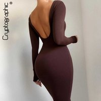 Cryptographic 2021 Spring Sexy Backless Midi Dresses Bodycon Elegant Evening Club Party Birthday Brown Long Sleeve Dress Women