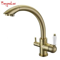 Kitchen Faucets New Solid Brass Swivel 3 in 1 Drinking Water Robinet Para Torneira Wels Sink Mixer Tri Flow 3 Way Filter Taps Wsuq