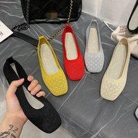 EOEODOIT Stretch Trigo Tecido Sapatos de Tecido Oco Ballet Flats Patchwork New Mulheres Calém Flat Anti Skid Loafer Respirável