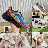 Lüks Marka Tasarımcısı Ayakkabı Deri Rhyton Sneakers Bej Erkekler Eğitmenler Vintage Chaussures Bayanlar Ayakkabı Tasarımcıları Sinsi Boyutu 35-46