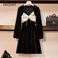 Plus Size Sexy Black Velvet Mini Dresses For Women Autumn Long Sleeve Mesh Patchwork Vintage A-line Warm Party Vestidos Casual