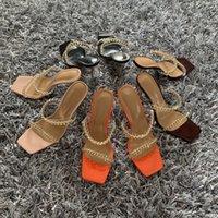 Verão Mulheres Sandálias Square Toe Ladies Heel Mules Clear PVC Transparente Salto Alto Eslava Feminino Cadeia De Moda Sapatos Mulher Ery45W45Jugfjyi